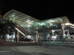 I had never seen the Millbrae transit center from the outside before.  Lit up at night, it looks quite impressive.